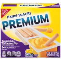 Handi-Snacks Premium Breadsticks 'N Cheesy Dip Snack Packs, 6 - 1.1 oz Packs