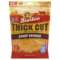 Borden Cheese, Shredded, Sharp Cheddar, Thick Cut