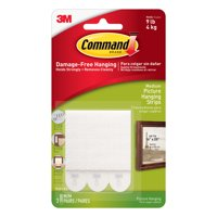 3M Command Picture Hanging Strips, Medium, White, 3/Pkg.