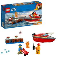 LEGO City Fire Dock Side Fire 60213 Fireboat Rescue Ship