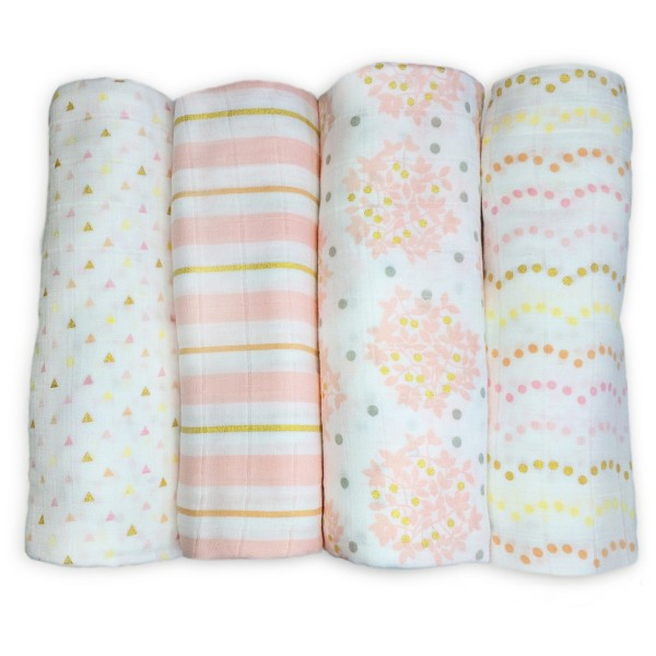 SwaddleDesigns Cotton Muslin Swaddle Blankets - Heavenly Floral Shimmer - 4pk - Pink