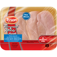 Tyson® Trimmed & Ready® All Natural* Thin-Sliced Chicken Breasts, 1.0 - 1.5 lb