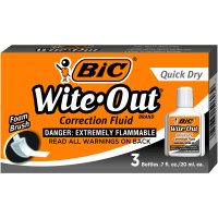 BIC Wite-Out Brand Quick Dry Correction Fluid, 20 ml, White, 3 Count