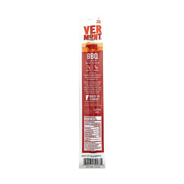 Vermont smoke & cure Bbq Beef Meat Stick, 1 each