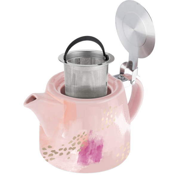 Pinky Up 20 Ounce Pink Abstract Ceramic Teapot & Infuser