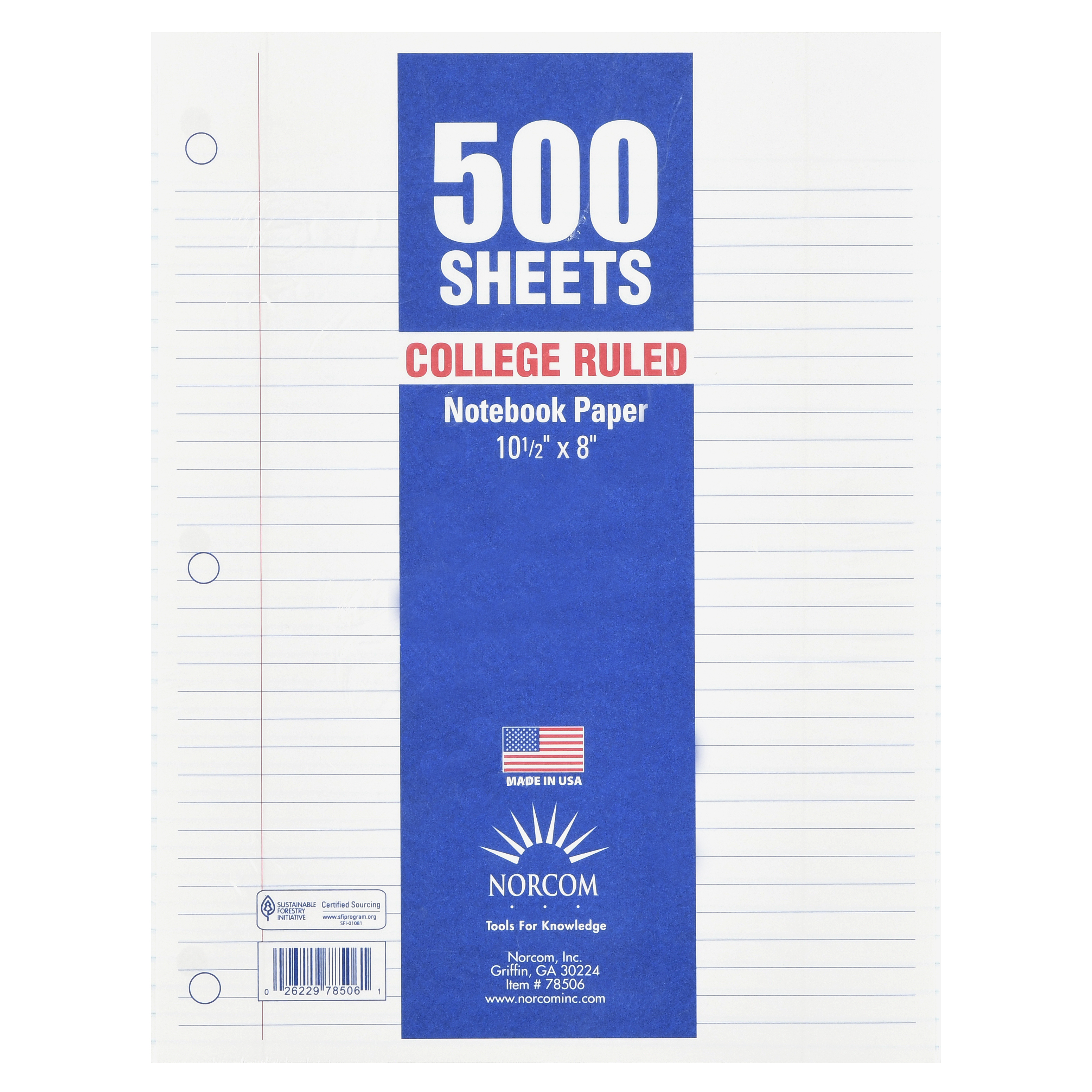 Norcom Filler Paper, College Ruled, 500 Pages, 8