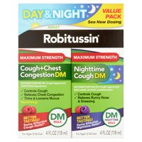 Robitussin Day & Night Max Strength Cough + Chest Congestion DM/Nighttime Cough DM Max, 4 Fl Oz, 2 Ct