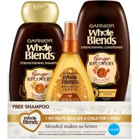 ($14 Value) Garnier Whole Blends Ginger Recovery 3-Piece Holiday Gift Set, Shampoo, Conditioner & Leave-In Treatment