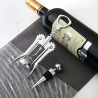 Mainstays Stainless Steel Wing Corkscrew and Wine Stopper Set