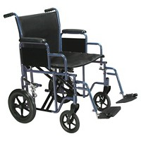 "Drive Medical Bariatric Heavy Duty Transport Wheelchair with Swing Away Footrest, 22"" Seat, Blue"
