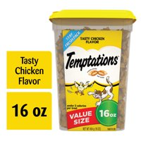 TEMPTATIONS Classic Crunchy and Soft Cat Treats Tasty Chicken Flavor, 16 oz. Tub
