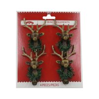 Holiday Time Mini Reindeer Ornaments, 4 Count