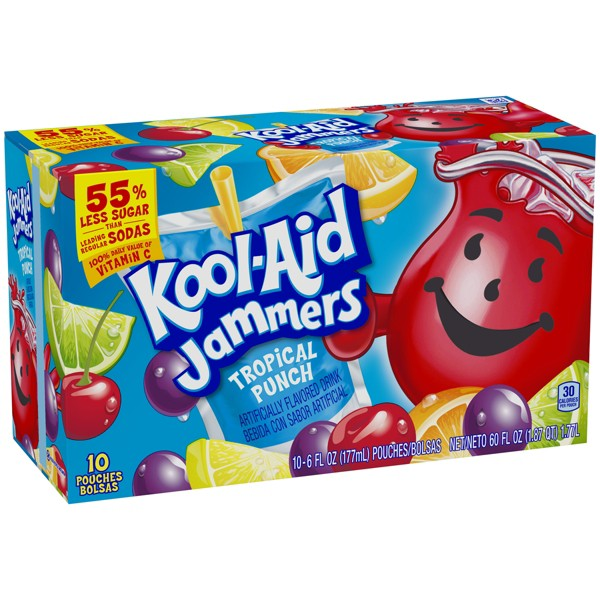 Kool-Aid Jammers Tropical Punch Juice Drinks - 10pk/6 fl oz Pouches