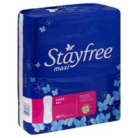 Stayfree Stayfree Maxi Pads (without Wings), Unscented, Super