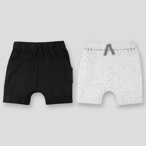Lamaze 2pk Baby Boys' Organic Cotton Cargo Pull-On Shorts - Gray/Black