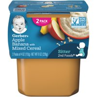 Gerber 2nd Foods Apple Banana with Mixed Cereal Baby Food, 4 oz. Tubs, 2 Count