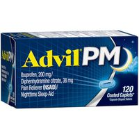 Advil PM Ibuprofen Pain Reliever/Nighttime Sleep Aid Coated Caplets
