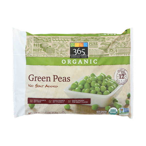 365 everyday value® Organic Frozen Green Peas (No Salt Added), 16 oz