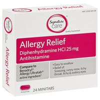 Signature Allergy Relief, 25 mg, Minitabs
