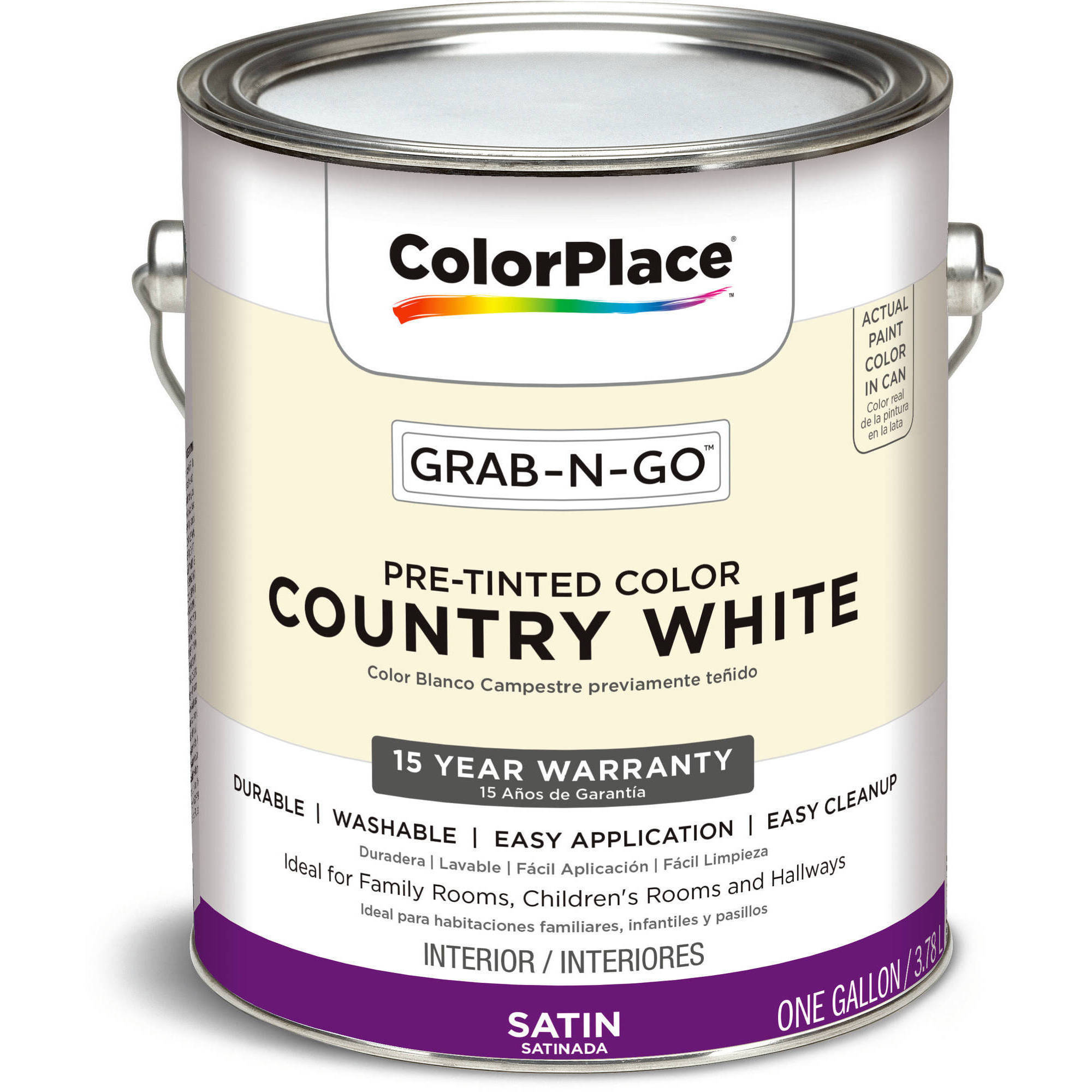 Country White, ColorPlace Grab-N-Go Interior Paint, 1 Gallon