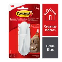 Command Designer Hook, White, Large, 1 Hook, 2 Strips/Pack