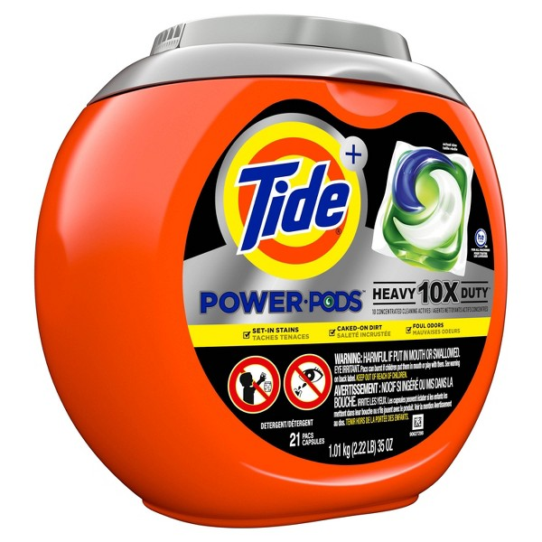 Tide Power Pods Heavy Duty Laundry Detergent Liquid Pacs Designed for Large Loads - 21ct