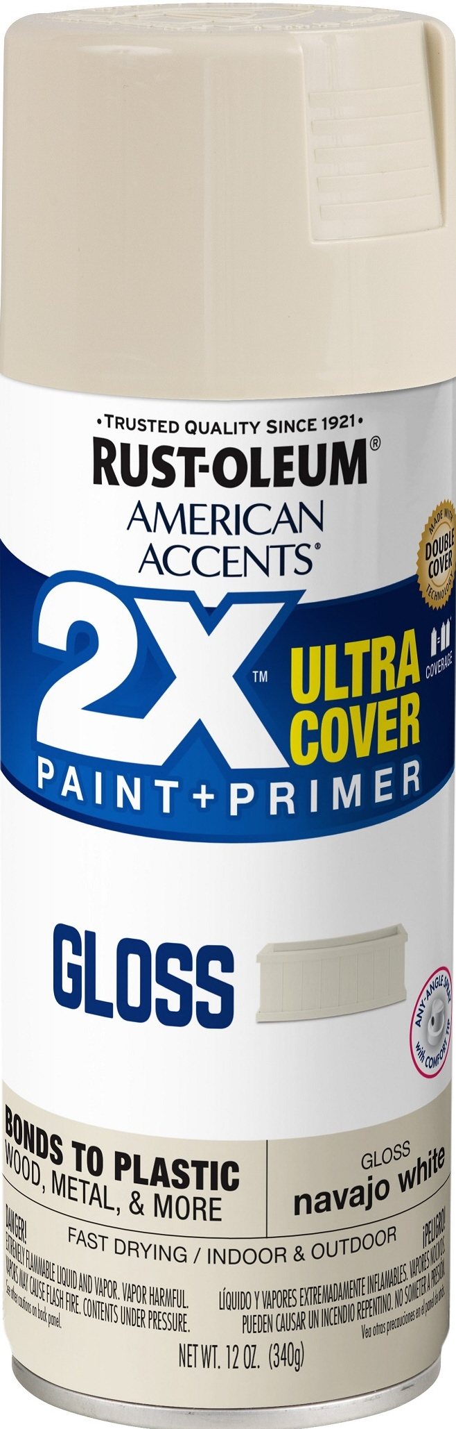 (3 Pack) Rust-Oleum American Accents Ultra Cover 2X Gloss Navajo White Spray Paint and Primer in 1, 12 oz