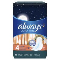 ALWAYS Ultra Thin Size 4 Overnight Pads With Wings Unscented, 28 Count
