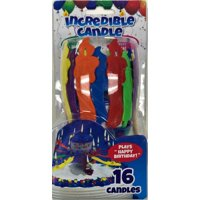 Incredible Candle, Plays Happy Birthday, Set of 16 Candles, Multicolor, As Seen on TV