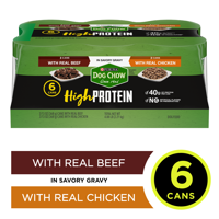 (6 Pack) Purina Dog Chow High Protein Gravy Wet Dog Food, High Protein With Real Chicken & Real Beef Variety Pack, 13 oz. Cans