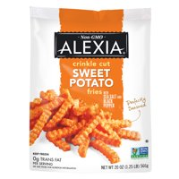 Alexia Crinkle Cut Sweet Potato Fries with Sea Salt and Black Pepper, Non-GMO Ingredients, 20 oz (Frozen)