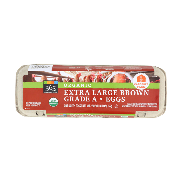 365 everyday value® Organic Extra Large Brown Grade A Eggs, 1 Doz.