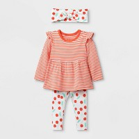 Baby Girls' Long Sleeve Cherry Print Top & Bottom Set - Cat & Jack™ Orange