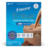 Ensure Enlive Advanced Nutrition Shake with 20 grams of High-Quality protein, Meal Replacement Shakes, Milk Chocolate, 8 fl oz, 4 count