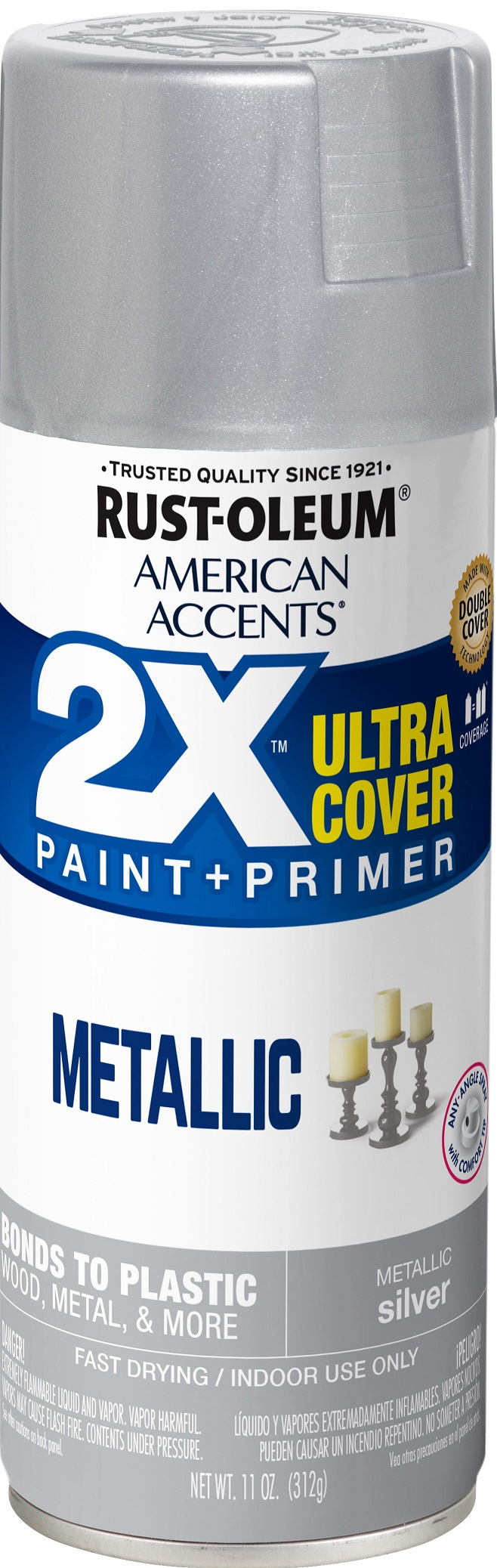 (3 Pack) Rust-Oleum American Accents Ultra Cover 2X Metallic Silver Spray Paint and Primer in 1, 11 oz