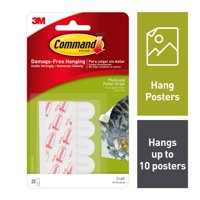 Command Poster Small White Poster Strips, 20 Piece