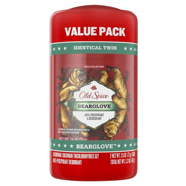 Old Spice Wild Bearglove Scent Invisible Solid Antiperspirant and Deodorant for Men - 2.6oz/2pk