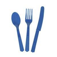 Way to Celebrate Assorted Plastic Silverware for 8, Electric Blue, 24pc