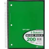 Top Flight Notebook, 5 Subject, Wide Rule, 200 Sheets