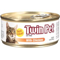 (4 Pack) Twin Pet Cat Food with Chicken Wet Cat Food, 5.5-oz. Can