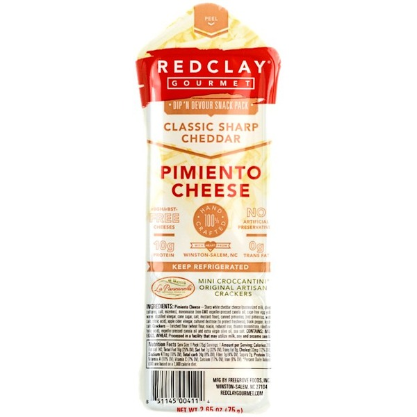 Redclay Gourmet Dip 'N Devour Snack Pack, Pimiento Cheese, Classic Sharp Cheddar