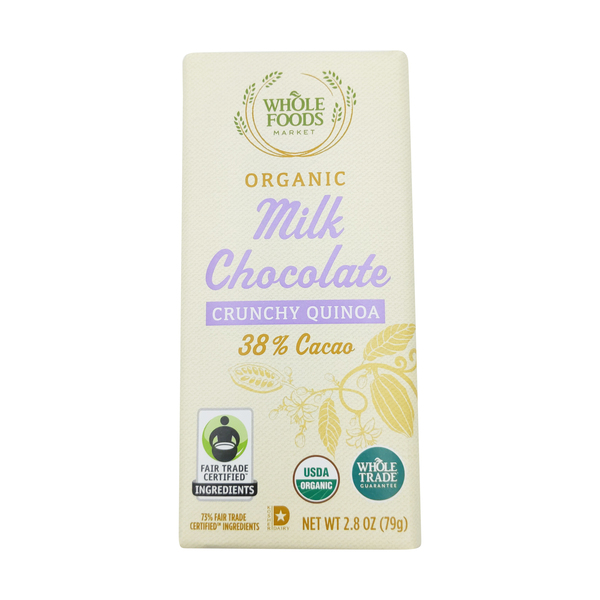 Whole foods market™ Organic Wtg Crunchy Quinoa Milk Chocolate Bar, 2.8 oz