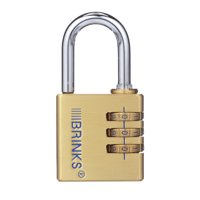 Brink's 40mm Brass 3-Dial Resettable Combination Padlock