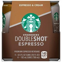 Starbucks Double Shot Espresso And Cream Coffee Drink - 4pk/6.5 fl oz Cans