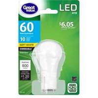 Great Value LED Light Bulb, 10W (60W Equivalent) A19 Lamp GU24 Base, Dimmable, Soft White, 1-Pack