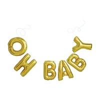 Gold Foil Phrase Balloons Oh Baby - Spritz™