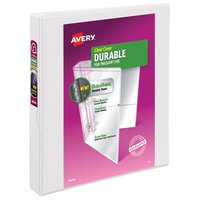 """Avery 1"""" White Durable Clear Cover Binder"""