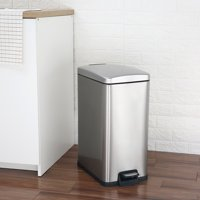 Better Homes and Gardens 7.9 Gallon Slim Rectangular Stainless Steel Waste Can with Soft Close Lid