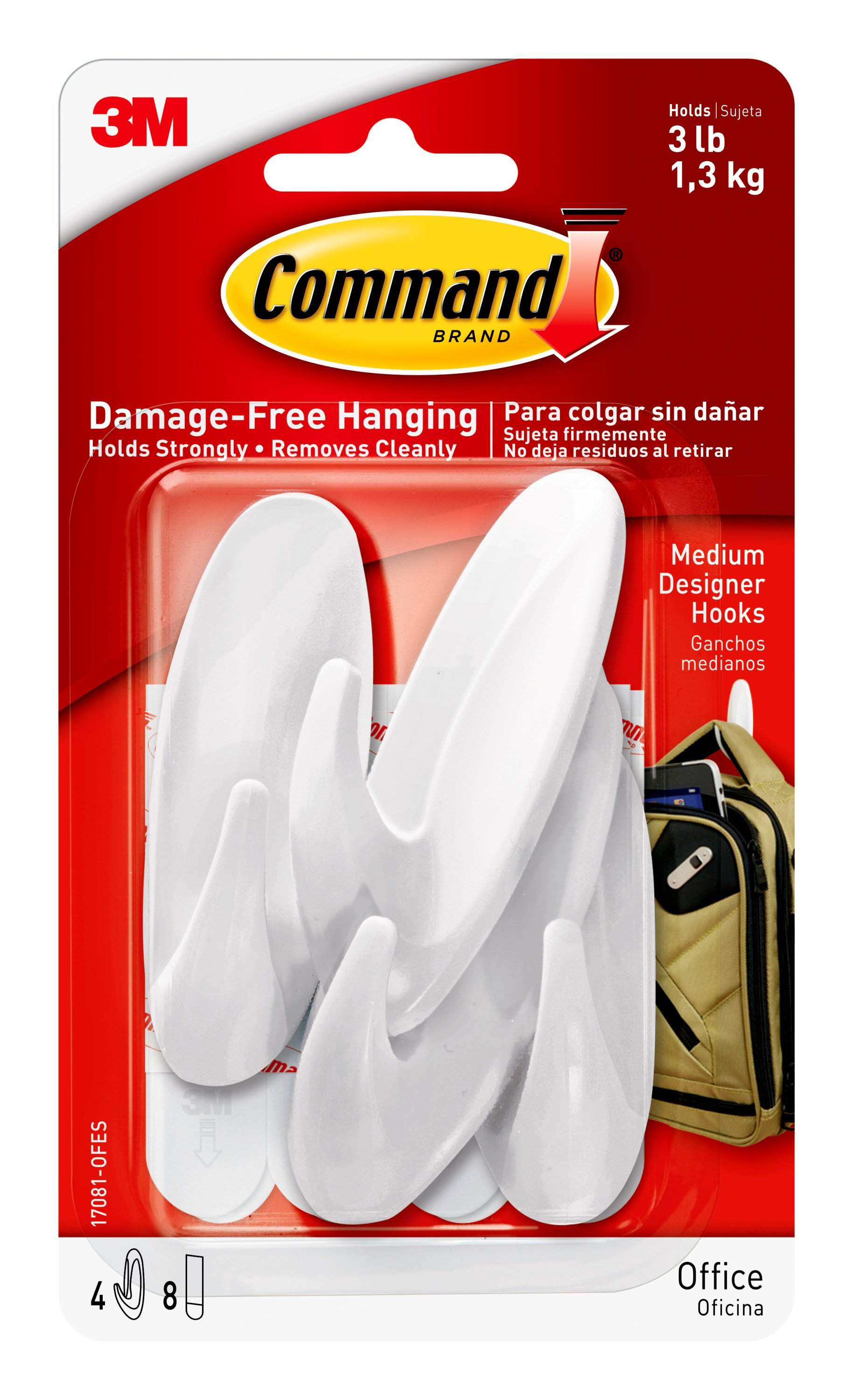 Command Medium Hooks Value Pack, White, 6 Hooks, 12 Strips/Pack