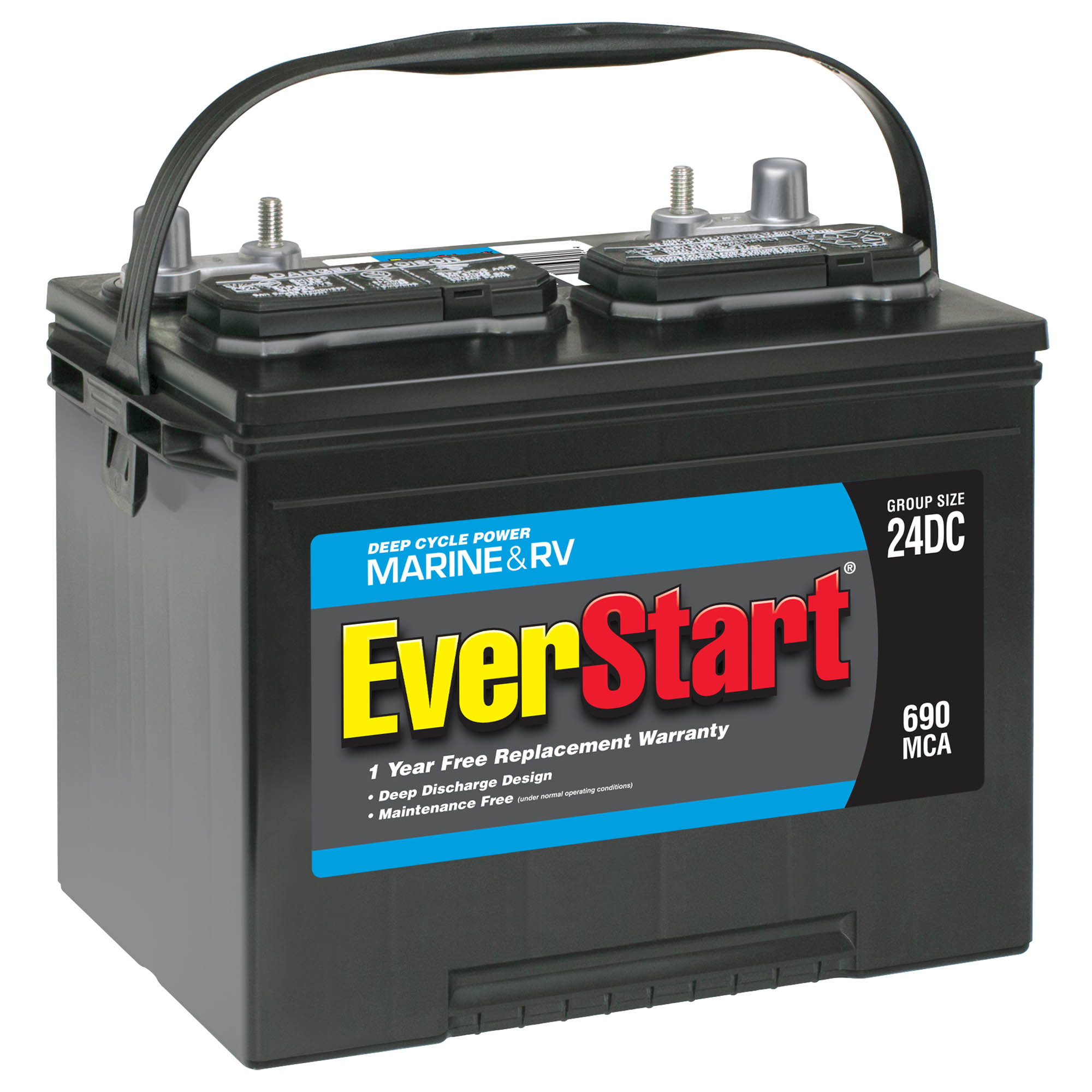 EverStart Lead Acid Marine & RV Deep Cycle Battery, Group Size 24DC (12 Volt/690 MCA)